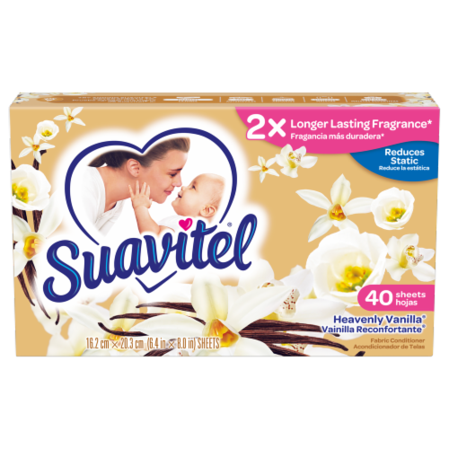 Suavitel Heavenly Vanilla Fabric Softener Dryer Sheets Perspective: front