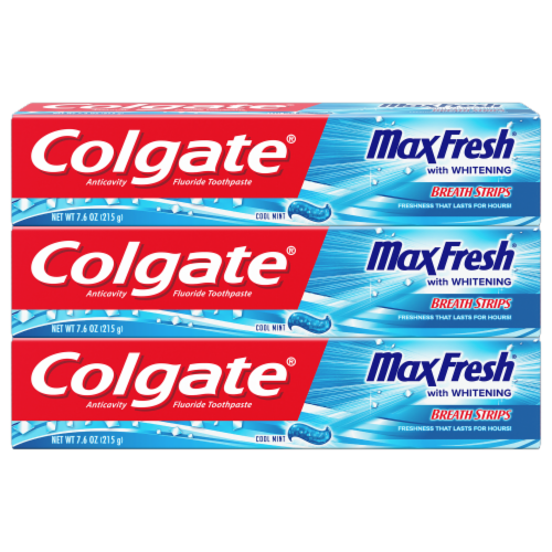 Colgate Max Fresh Cool Mint with Whitening Breath Strips Toothpaste 3 Count Perspective: front