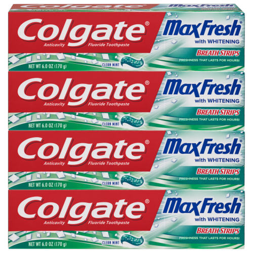 Colgate Max Fresh Clean Mint with Whitening Breath Strips Toothpaste 4 Count Perspective: front
