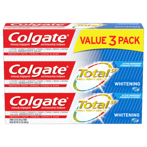 Colgate Total Whitening Gel Toothpaste 3 Count Perspective: front