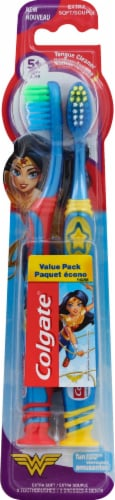 Colgate Wonder Woman Extra Soft Kid's Toothbrush Value Pack Perspective: front