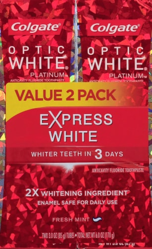 Colgate Optic White Platinum Express White Toothpaste Perspective: front