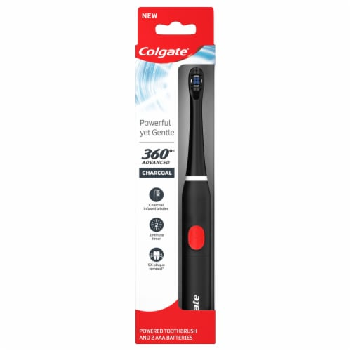 Colgate 360 Advanced Charcoal Battery Powered Toothbrush Perspective: front