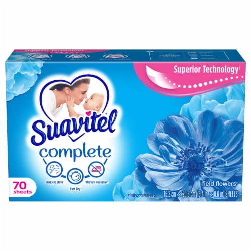 Suavitel Complete Field Flowers Fabric Softener Dryer Sheets Perspective: front