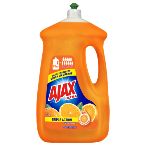 Ajax Ultra Triple Action Orange Dish Liquid Perspective: front