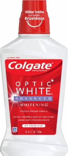 Colgate Optic White Icy Fresh Mint Mouthwash Perspective: front