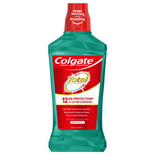 Colgate Total Spearmint Surge 12-Hour Pro-Shield Mouthwash Perspective: front