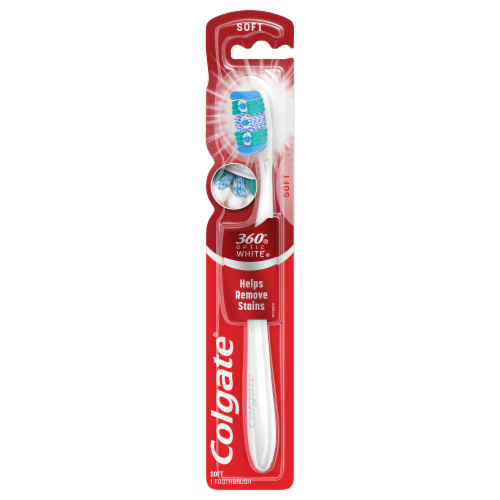 Colgate 360 Optic White Full Head Soft Toothbrush Perspective: front
