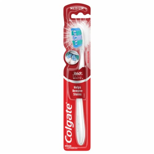 Colgate 360 Optic White Medium Head Manual Whitening Toothbrush Perspective: front