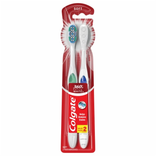 Colgate 360 Optic White Manual Soft Toothbrushes Value Pack Perspective: front