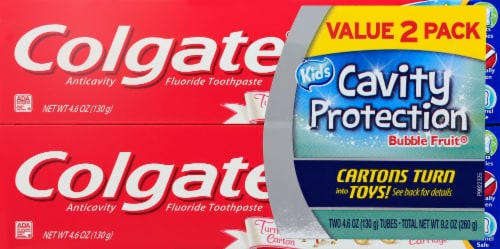 Colgate Value Pack Bubble Fruit Flavored Cavity Protection Fluoride Toothpaste for Kids 2 Count Perspective: front