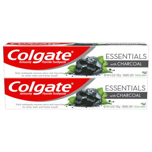 Colgate Essentials with Charcoal Fresh Mint Toothpaste 2 Count Perspective: front