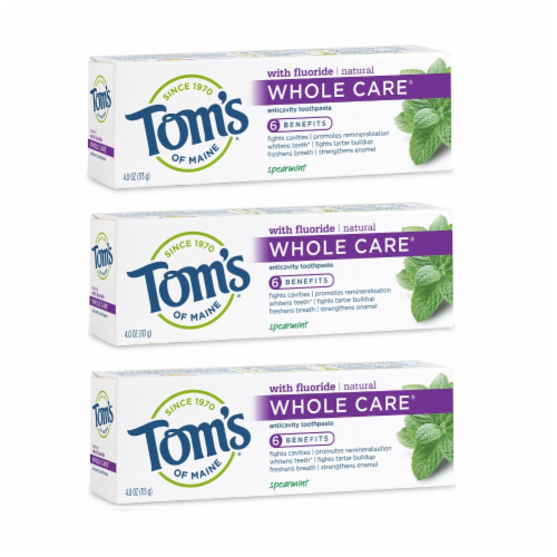 Tom's of Maine Spearmint Whole Care Anticavity Toothpaste 3 Count Perspective: front