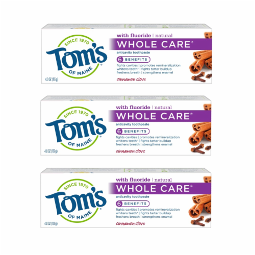 Tom's of Maine Cinnamon Clove Whole Care AnticavityToothpaste 3 Count Perspective: front