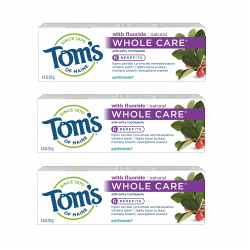 Tom's of Maine Wintermint Whole Care Anticavity Toothpaste 3 Count Perspective: front