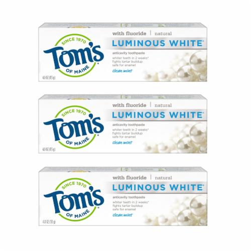 Tom's of Maine Clean Mint Luminous White Toothpaste 3 Count Perspective: front