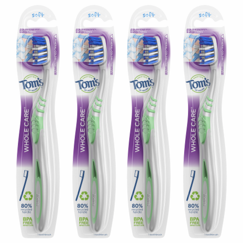 Tom's of Maine Whole Care Soft Toothbrush 4 Count Perspective: front