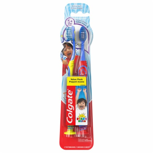 Colgate Kids Ryan's World Extra Soft Toothbrushes Pack Perspective: front