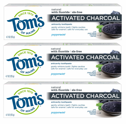 Tom's of Maine Peppermint Activated Charcoal Anticavity Toothpaste 3 Count Perspective: front