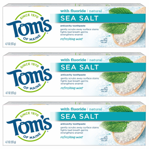 Tom's of Maine Refreshing Mint Sea Salt Anticavity Toothpaste 3 Count Perspective: front
