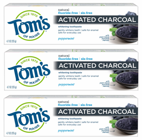 Tom's of Maine Activated Charcoal Toothpaste 3 Count Perspective: front