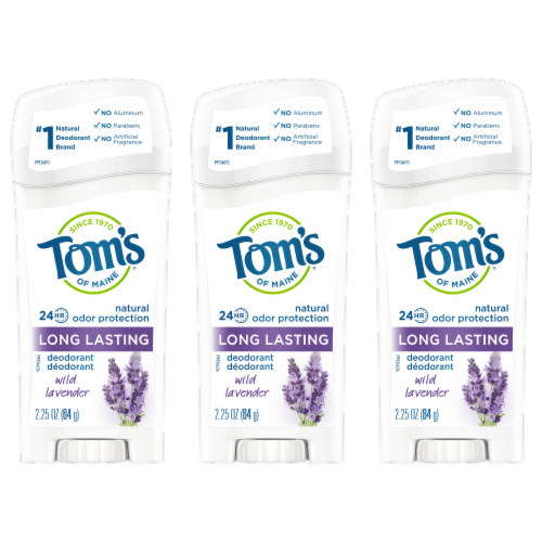 Tom's of Maine Long Lasting Wild Lavendar Stick Deodorant 3 Count Perspective: front