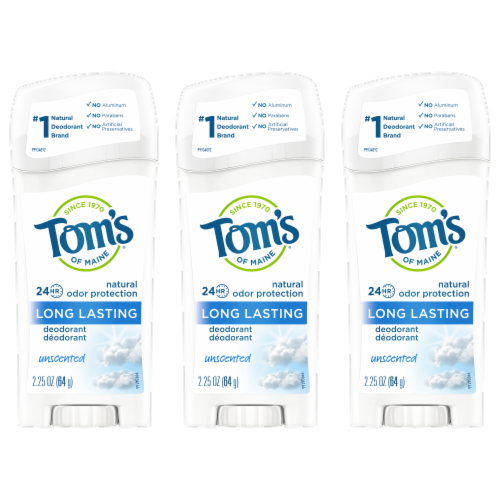 Tom's of Maine UnscentedLong Lasting Stick Deodorant 3 Count Perspective: front