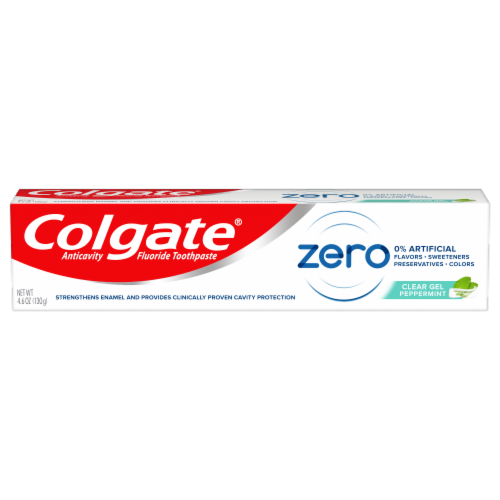 Colgate Zero Clear Gel Peppermint Anticavity Fluoride Toothpaste Perspective: front