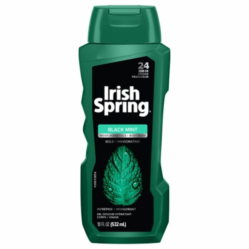 Irish Spring Black Mint Body Wash Perspective: front