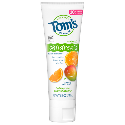 Tom's Children's of Maine Outrageous Orange Mango Toothpaste Perspective: front