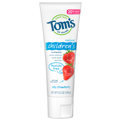 Tom's of Maine Silly Strawberry Children's Anticavity Fluoride Free Toothpaste Perspective: front