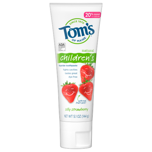 Tom's of Maine Silly Strawberry Children's AnticavityToothpaste Perspective: front
