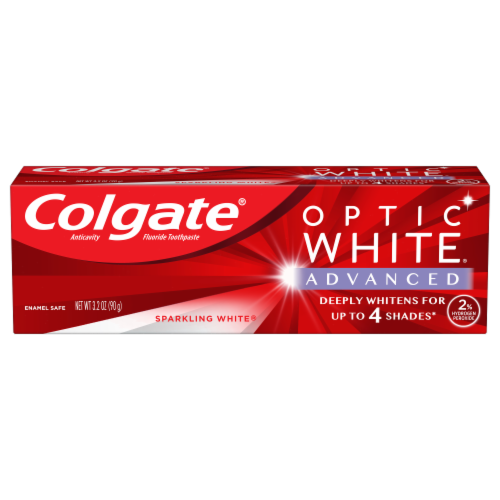 Colgate Optic White Advanced Sparkling White Teeth Whitening Toothpaste Perspective: front