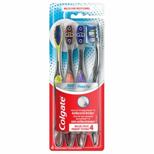 Colgate 360 Advanced Floss-Tip Bristles Manual Toothbrushes Value Pack Perspective: front
