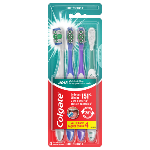 Colgate 360 Whole Mouth Clean Soft Toothbrush Perspective: front