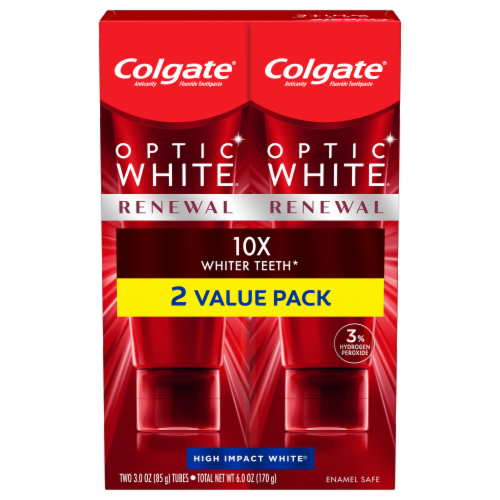 Colgate Optic White Renewal High Impact White Toothpaste Value Pack Perspective: front