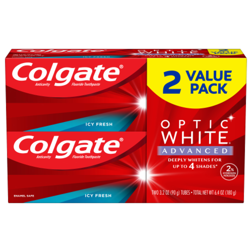 Colgate Optic White Advanced Icy Fresh Teeth Whitening Toothpaste Perspective: front