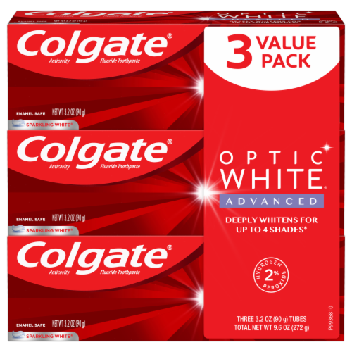 Colgate Optic Sparkling White Icy Fresh Toothpaste Perspective: front