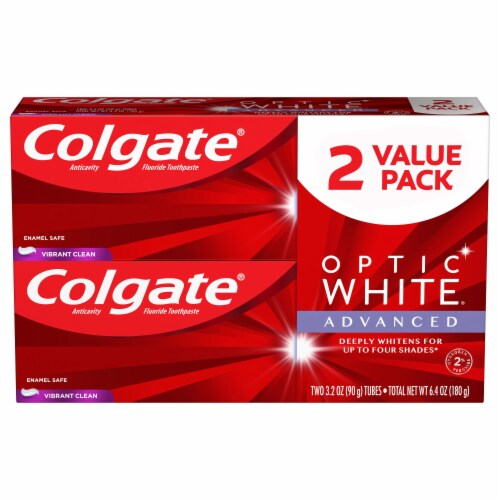 Colgate Optic White Vibrant Clean Toothpaste 2 Pack Perspective: front