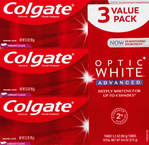 Colgate Optic White Vibrant Clean Toothpaste Perspective: front