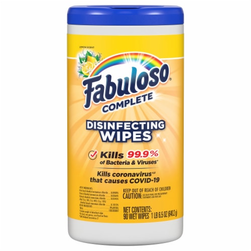 Fabuloso Lemon Complete Disinfecting Wipes Perspective: front