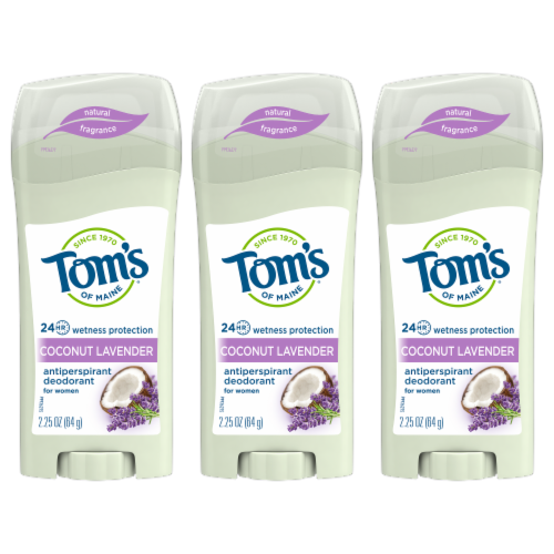 Tom's Coconut Lavender Antiperspirant Deodorant Perspective: front
