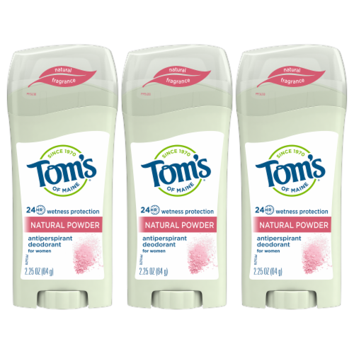 Tom's Natural Powder Antiperspirant Deodorant 3 Count Perspective: front
