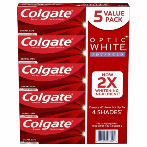 Colgate Optic Advanced Whitening Toothpaste, Sparkling White (4.2 Ounce, 5 Pack) Perspective: front