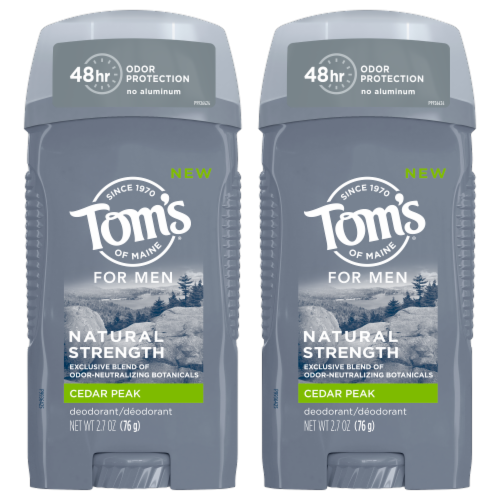 Tom's of Maine Cedar Peak Men's Natural Deodorant 2 Count Perspective: front