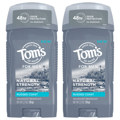 Tom's of Maine Rugged Coast Men's Natural Strength Deodorant 2 Count Perspective: front