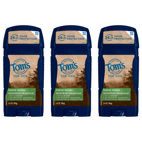 Tom's of Maine North Woods Men's Long Lasting Deodorant 3 Count Perspective: front