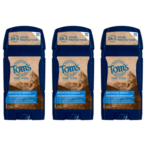 Tom's of Maine Mountain Spring Long Lasting Men's Deodorant 3 Count Perspective: front