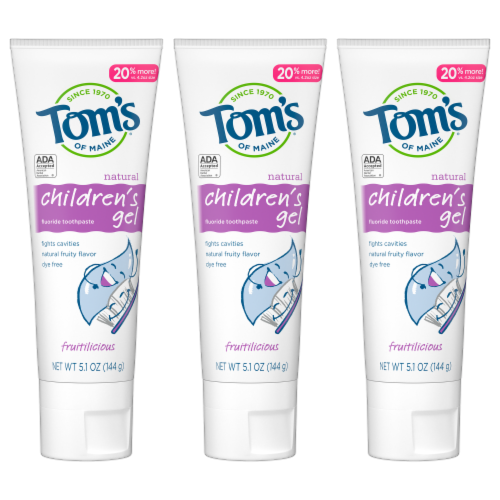 Tom's of Maine Fruitilicious Children's Anticavity Toothpaste 3 Count Perspective: front
