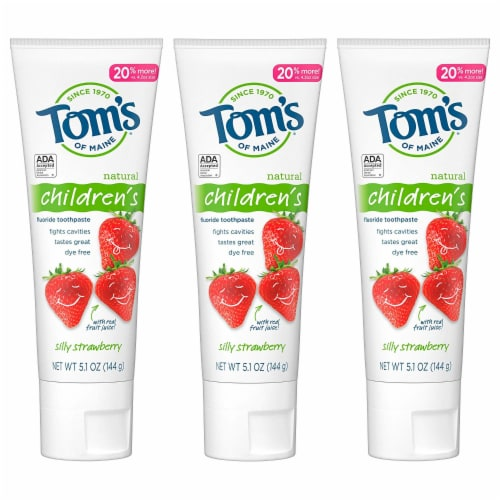 Tom's of Maine  Silly Strawberry AnticavityToothpaste 3 Count Perspective: front